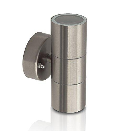 1x Wandleuchte BALENO-S Edelstahl IP44 230V geeignet für Halogen und LED Leuchtmittel - Up and Down - innen und außen