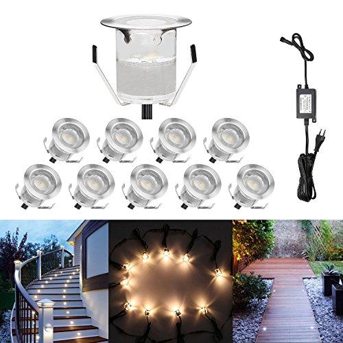 10er Terrassen Einbaustrahler - 06 Watt 40Lm Φ30mm Wasserdichte IP67 Blau Mini LED Einbauleuchten Einbauspots für Außenterrasse Garten