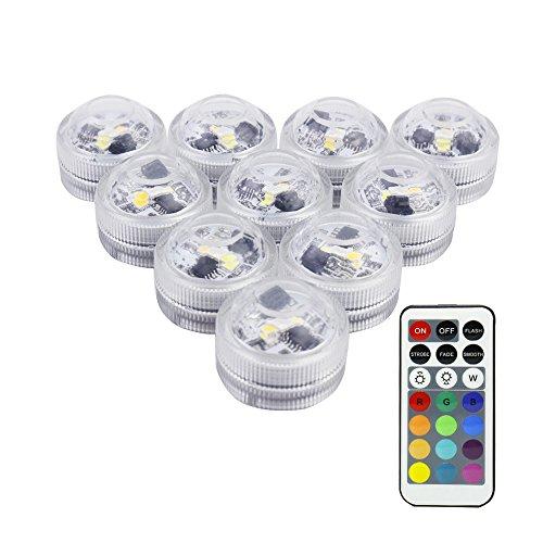 RGB TeichbeleuchtungLUXJET LED Unterwasser Lichter mit Fernbedienung Batteriebetrieben IP68 Wasserdichte für Garten Aquarium Vase Badewanne Pool oder Spa 10er Pack mini