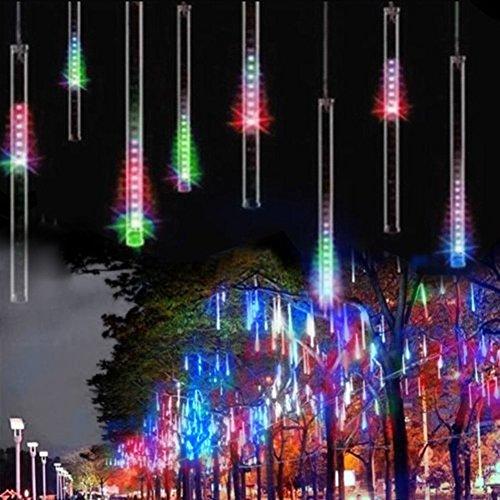 Fallende Lichter EONANT 30cm 10 Tubes 360LEDs Solarfalllichter Meteorschauer Lichter Regen Tropfen Lichter für Bäume Parteien Hochzeit Garten Haus Dekoration Multicolor