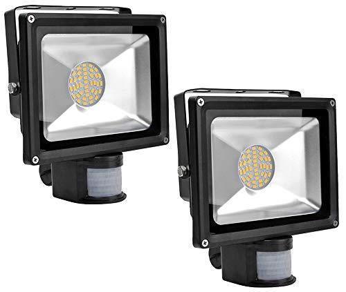 Leetop 2X 30W LED SMD Strahler Fluter Außen Strahler mit PIR Bewegungsmelder Fluter IP65 Aluminiumkörper Schwarz Warmweiß