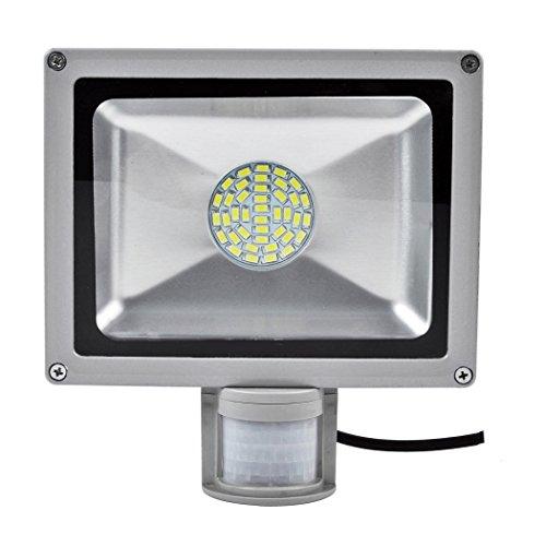 PrimLight 1X 30W SMD LED Flutlicht Strahler Fluter Außenlicht Scheinwerfer Sicherheits-Licht Energiesparendes Flut-Licht mit PIR Bewegungs-Sensor Wasserdichtes IP65