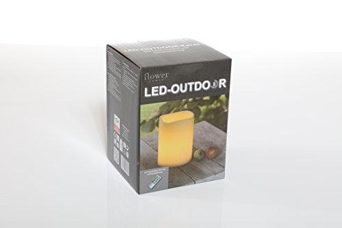 Flower Power LED Kerze Plastik beige 15 x 15 x 20 cm