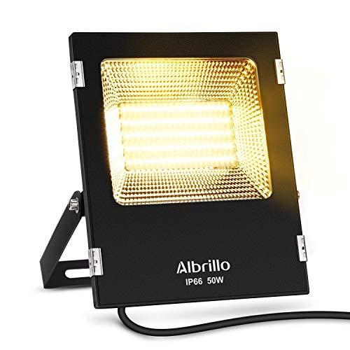 Albrillo 50W LED Fluter 4000Lumen Super helle Scheinwerfer 3000K Warmweiß LED Strahler und Wasserdicht IP66 Ideale für Garten Garage Sportplatz und HotelEnergieklasse A