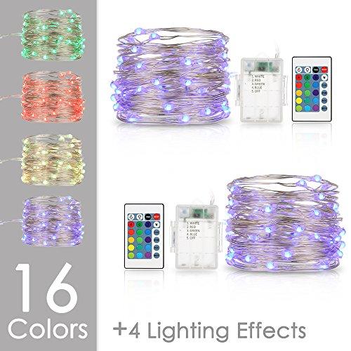 LED Lichterkette Bunt Batterie Tomshine 50 LEDs Batteriebetrieben Lichterkette 2x5 Meter Kupferdraht Wasserdicht Stimmungsvolle Beleuchtung mit Fernbedienung und Timer für Party Weihnachten