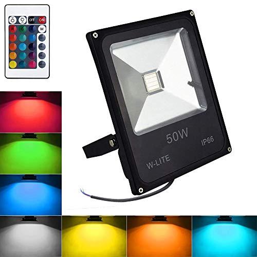 RGB Strahler mit Fernbedienung 50W LED Fluter Farbwechsel Außenstrahler Scheinwerfer Dimmbar IP66 Wasserdicht für Weihnachten Party Kein Stecker