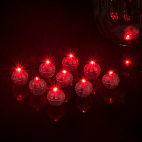100 runde Ballon-Lichter LED-Mini-Ballon-Lampe Lange Standby-Zeit Papier-Laterne Ballon-Licht für Halloween Party Hochzeit Dekoration Innen- und Außenbereich wasserabweisend rot Free Size