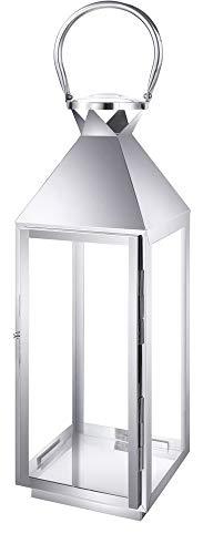 Aquaristikwelt24 Edelstahl Design Laterne CCD-9605 Größe S Glas Metall Windlicht Gartenlaterne