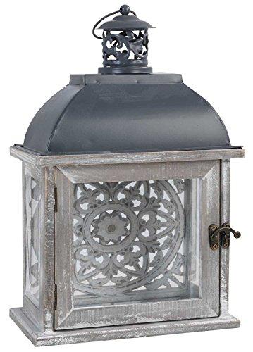 Laterne Windlicht Gartenlaterne TARAH 1  Weiß  Holz  Metall  mit Relief