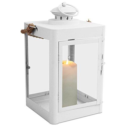 Multistore_2002 Laterne H33cm mit Seil-Henkel Gartenlaterne Metalllaterne Windlicht Metallgestell mit Glasfenstern Kerzenhalter FarbeWeiß