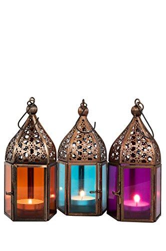 Orientalische Laternen 3 Set Laterne Meena bunt 16cm  3x Orientalisches Windlicht aus Metall Glas in 3 Farben  Marokkanische Glaslaterne für draußen als Gartenlaterne Innen als Tischlaterne