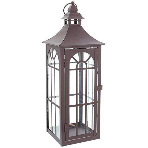 SIDCO  Große Metall Laterne Windlicht Kerzenhalter Standlaterne Gartenlaterne 45 cm