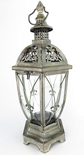 exklusive Laterne Windlicht XXL schwarz Innen  Außen Windschutz Kerze Gartenlaterne aus Metall RETRO Lampe antik rustikal