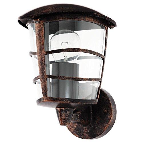 Design Außen Beleuchtung Wand Lampe Laterne E27 Metall kupfer schwarz IP44 Strahler Eglo 75333