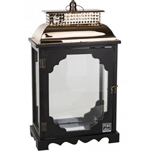 Holz-Laterne 40cm Pinie schwarz mit Metall-Dach Kupfer Glas Pagode Landhaus