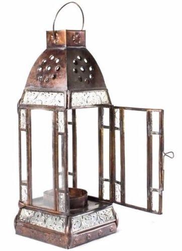 Laterne 30 cm aus Kupfer Gartenlaterne Windlicht Kerzenhalter Grablampe