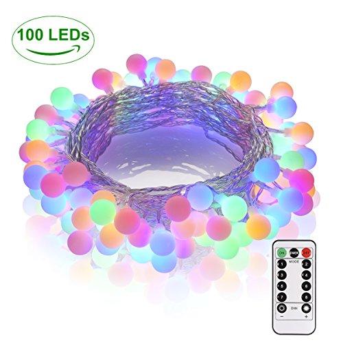 Lichterkette 100 LED GREEMPIRE Bunt Globe Lichterkette 133M strombetrieben mit EU Stecker Lichterkette Kugel mit Fernbedienung Innen- Außen IP65 Wasserdicht für Weihnachtensbaum Party Hochzeit