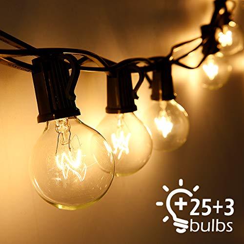 Lichterkette Außen Qomolo Lichterkette Glühbirnen G40 28er Birnen Garten Beleuchtung für Innen und Draußen mit Ersatzbirnen 95 Meter Warmweiß