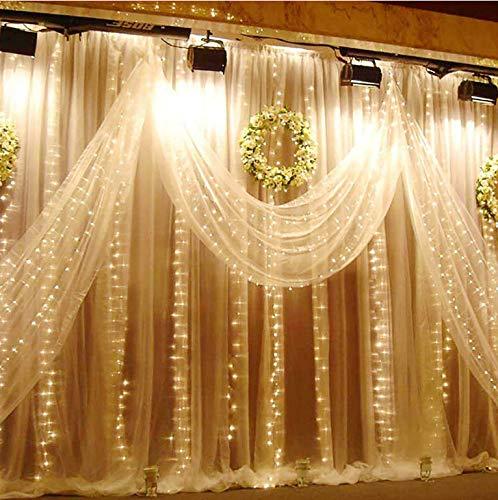 LED Lichtervorhang Vegena 300 LEDs Lichterwand 3m x 3m Lichterkettenvorhang 8 Modi Wasserfest Lichterkette Warmweiß mit Fernbedienung für Außen Innen Deko Weihnachtsbeleuchtung Hochzeit Party