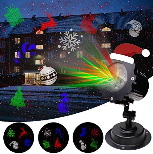LED Projektionslampe Weihnachtsbeleuchtung Außen mit Sternen Weihnachtsbeleuchtung mit 12 Lichteffekt für Weihnachten Feste Party Innen Außen Garten Wand Beleuchtung Wasserdicht