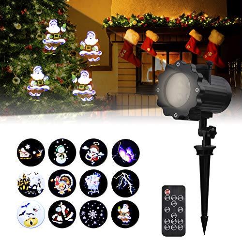 Led Projektionslampe Außen Viugreum Led Projektor Weihnachtsbeleuchtung mit 12 Motiven Wasserdicht IP65 Projektor Weihnachten für Karneval Festen und Dekoration