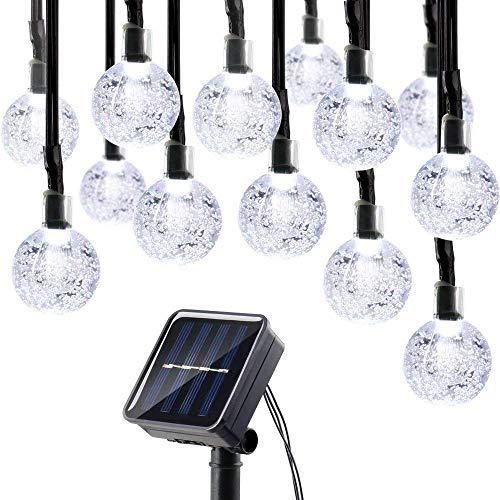 lederTEK Solar Lichterkette 6m 30 LED Kugel Außenlichterkette Wasserdicht mit Lichtsensor Weihnachtsbeleuchtung Beleuchtung für Haushalt Außen Party Hochzeit Weihnachten weiß