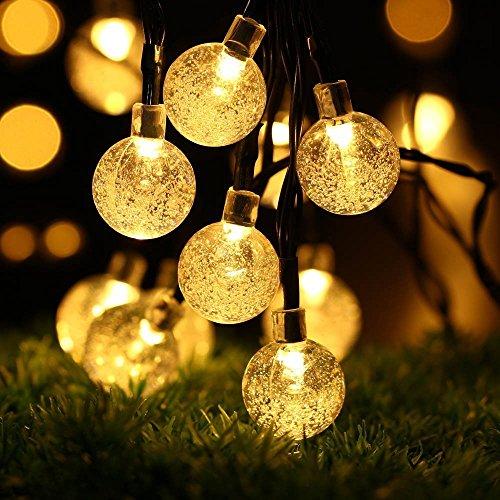 ECOWHO Solar Lichterkette Außen mit LED Kugel 75m 40 LED Solarbetriebene Lichterketten für Innen Garten Hochzeit Party WeihnachtenWarmweiß