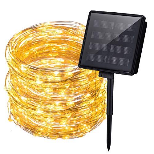 Mpow Solar Lichterketten aussen 200 LED Kupferdraht Lichter Lichterkette Solar aussen Sternenlicht IP65 wasserdicht Solar Lichterkette außen für Weinachten Valentinstag Hochzeit Fest Party