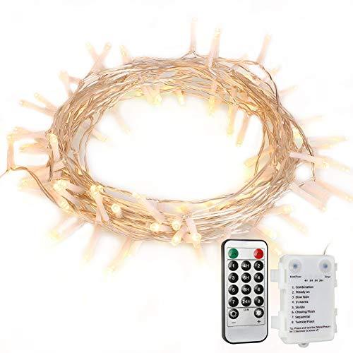 100 LED Lichterkette mit Fernbedienung und Timer 8 Modi Dimmbar Outdoor Weihnachtslichterkette Batteriebetrieben 11m Warmweiß