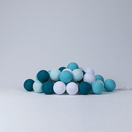 Cotton Ball Lights LED Lichterkette Baumwolle WeißAqua
