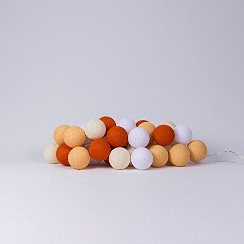 Cotton Ball Lights LED Lichterkette Baumwolle Weiß-Shell-Soft Orange-Dutch Orange