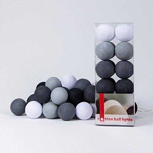 Cotton Ball Lights LED Lichterkette Baumwolle WeißStein  Mid GrauAnthrazit  Schwarz
