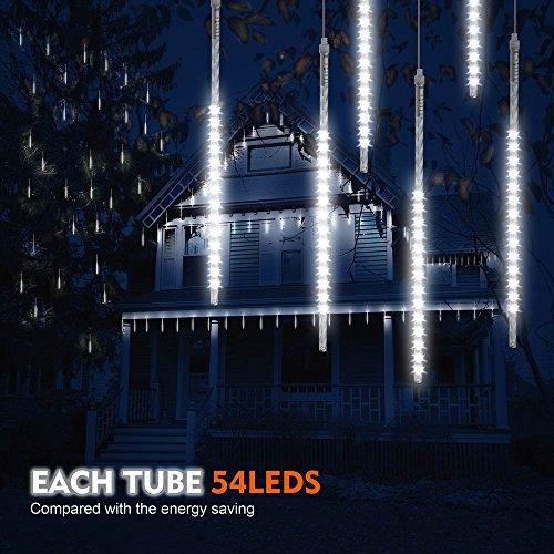 Samoleus 50cm 10 Tube 540 LEDs Meteorschauer Lichterkette Innen IP65 Wasserdichte Meteor Shower Lichter mit EU Stecker Meteorschauer Regen Lichter für Party Weihnachten Dekoration Außen Weiß-50cm