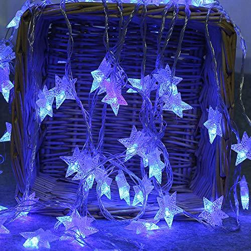 10 Leds Globe Lichterkette 2 Meter TIREOW Kugel Lichter Pentagramm Licht Batteriebetriebene für Party Weihnanchten Geburtstag Hochzeit Garten Wohnzimmer Terrasse Blau