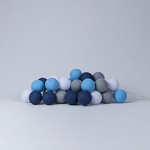 Cotton Ball Lights LED Lichterkette Baumwolle WeißBlau  SteinStahlblau