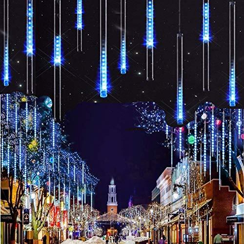 LEDs Meteorschauer Regen LichterSUAVER Wasserdichte Regentropfen Solar Licht Garten Lichterketten mit 30cm 10Tube 360LEDdekorative Lichter für Hochzeits WeihnachtsbaumBlau