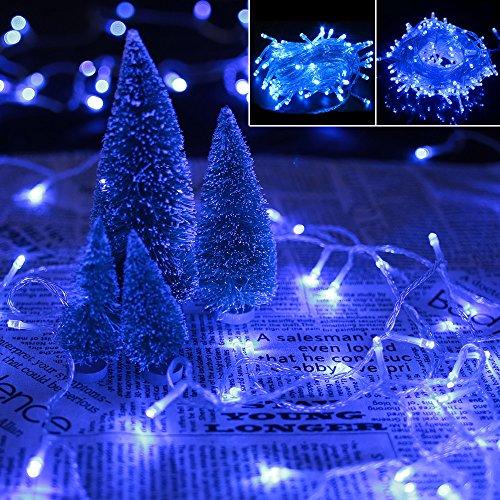 VINGO 10M 100 LED Lichterketten Blau Außenlichterkette 8 Funktiontyp Memory für Weihnachtsfest Halloween Geburtstag innen Garten Fenster
