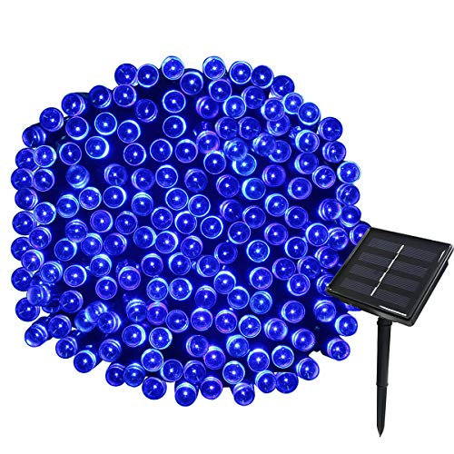 Yasolote Solar Lichterkette Außen Wasserdicht LED Außenlichterkette 22m 200 LED 8 Modi Beleuchtung für Garten Balkon Pavillon Terrasse Rasen Hof Zaun Hochzeit Party Deko Blau 1 Stück