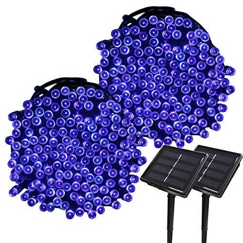 Yasolote Solar Lichterkette Außen Wasserdicht LED Außenlichterkette 22m 200 LED 8 Modi Beleuchtung für Garten Balkon Pavillon Terrasse Rasen Hof Zaun Hochzeit Party Deko Blau 2 Stücke