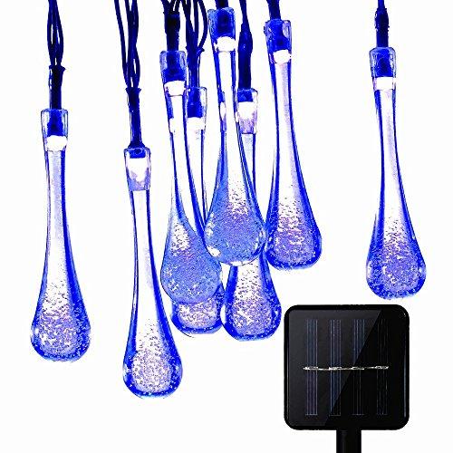 foopp LED Kristall Wasser Drop Licht Solar Regentropfen Lichterkette wasserdicht Dekorative Beleuchtung blau