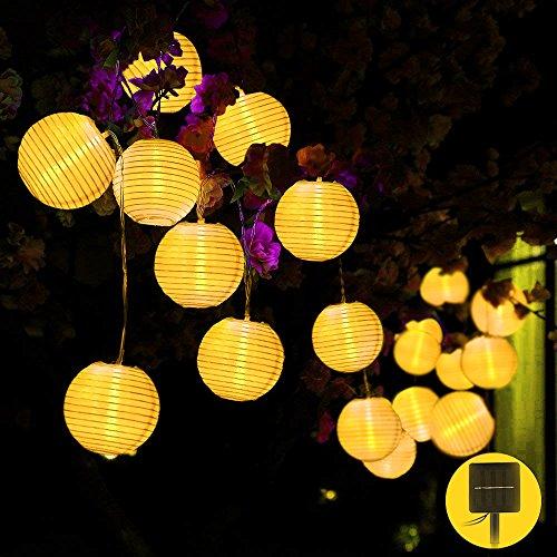 Solar Lichterkette, Lampion 20LEDs 45m Laterne Wasserdichte Gartenbeleuchtung mit 15m Zuleitungskabel als Innenbeleuchtung und Außenbeleuchtung LED Lichterkette außen Solar Lichterketten Außen