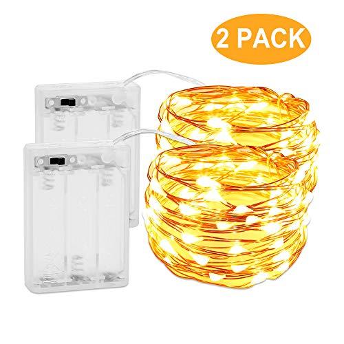 2 Stück 3M 30er Micro LED Lichterkette BatterieNasharia Micro Kupferdraht Sterne Lichterketten IP67 Wasserfest Geeignet für DIY-UnterhaltungHochzeitWeihnachtenHalloweenParty Deko