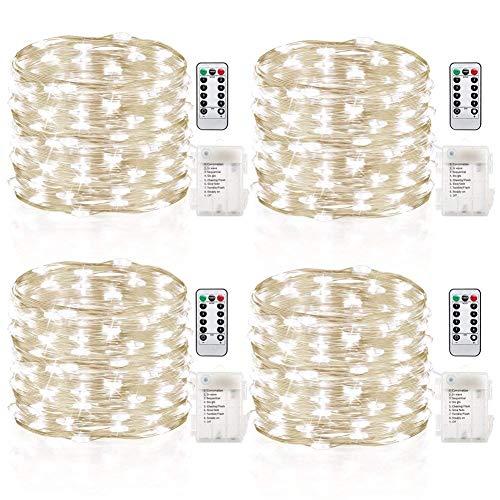 GDEALER 4er 5M 50 LED Lichterkette Batterie mit Fernbedienung und Timer IP65 Wasserdicht 8 Modi Außen Innenbeleuchtung für Party Garten Weihnachten Hochzeit weihnachts deko Kaltweiß