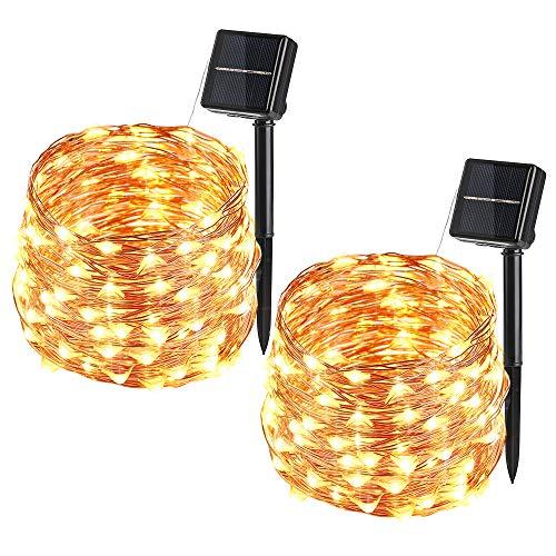 Solar Lichterkette Aussen VegaHone 2 Pack 100 LED Außen Kupferdraht Lichterkette Wasserdicht 8 Modi Solarbetriebene Sternen Lichterkette Innen für Weihnachten Party Garten Hochzeit Deko Warmweiß