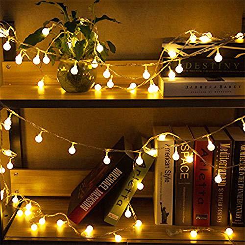 50 Leds Globe Lichterkette WarmweißNashaira Innen und Außen Deko Glühbirne Lichterkette IP44 Wasserdicht für Party Garten Weihnachten Halloween Hochzeit Beleuchtung Deko Wohnzimmer