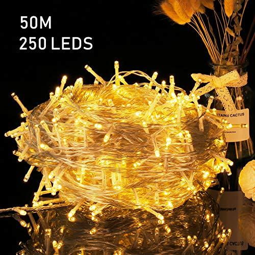 50M Lichterkette 250 LEDs Weihnachtsbeleuchtung Avoalre mit Stecker 8 Modi und Memoryfunktion IP44 wasserfest Warmweiß für Innen Außen Neujahr Weihnachten Deko Festen Party Hochzeit