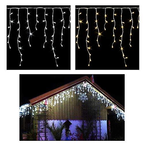 600400 LED Premium EISREGEN WARMWEISS oder KALTWEISS~ges20m  15m~WEIHNACHT-Lichterkette~EISZAPFEN Effekt~IP44~WEIHNACHTSBELEUCHTUNG~WEIHNACHTSDEKO~EISREGENKETTE 600 LED WARMWEISS ges 20m