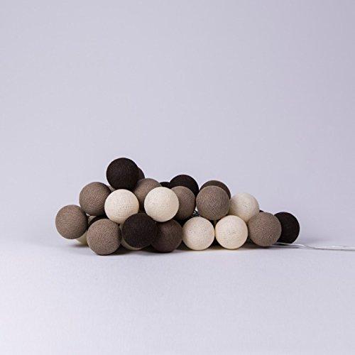 Cotton Ball Lights Brown 20 Lichterkette Baumwolle Mehrfarbig