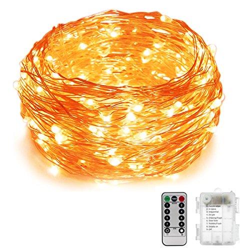 Lichterketten 20M 200 LED Outdoor Lichterkette Draht Batterie-betrieben8 Modi IP65 Wasserdicht Außenbeleuchtung-Warmweiß