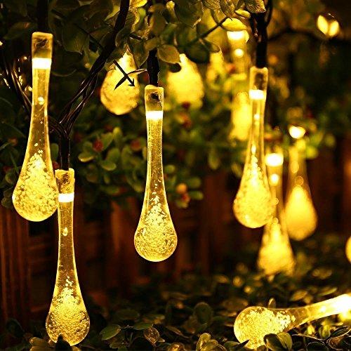 Samoleus 20 LED 48 Meter Wassertropfen Lichterkette Solarlichterkette Außen Lichterkette Weihnachten für Partydekorationen Wassertropfen-Warmweiß